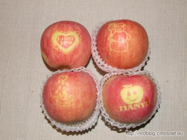 Napisy na jabłku