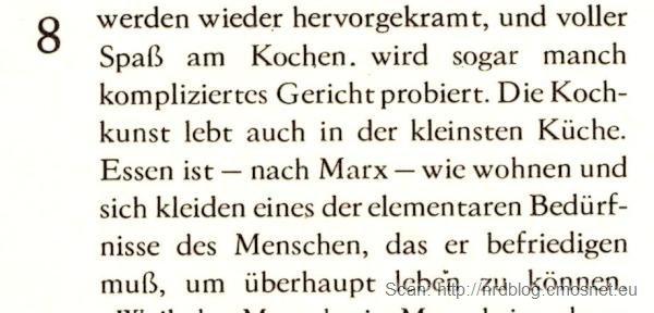 Książka kucharska z NRD - cytat z Marksa, 1986