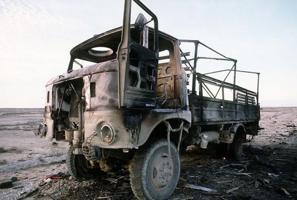 Ciężarówka IFA zniszczona w pierwszej wojnie w zatoce perskiej Źródło: Wikipedia