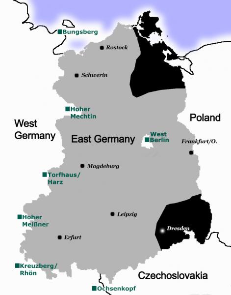 Zasięg zachodniej telewizji w NRD. Żródło: Wikipedia Autor: anorak2
