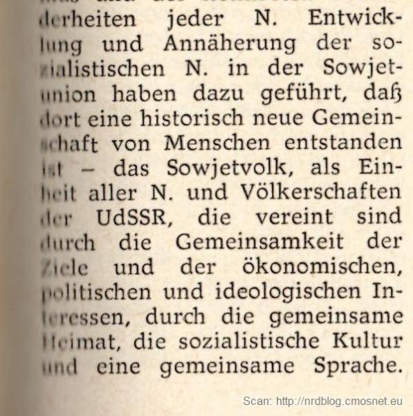 """Kleines Politisches Wörterbuch (NRD, 1973) - hasło """"Nation"""""""