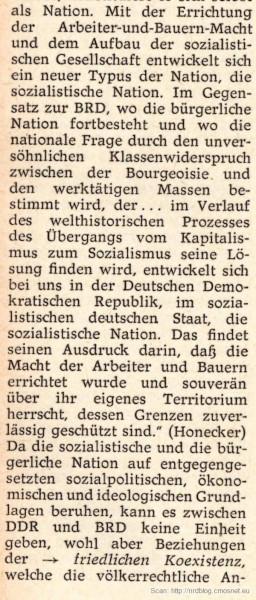 """Kleines Politisches Wörterbuch (NRD, 1973) - hasło """"nationale Frage"""""""