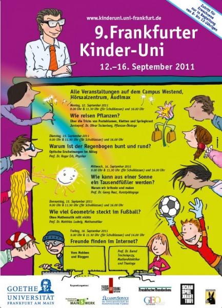 "Plakat Kinder-Uni 2011 Żródło: {a href=""http://www.kinderuni.uni-frankfurt.de""}www.kinderuni.uni-frankfurt.de{/a}"