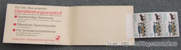 Książeczka z NRD-owskimi znaczkami pocztowymi, 1988