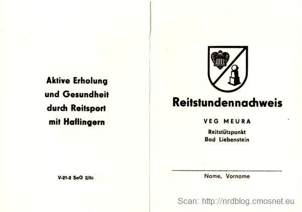 Legitymacja jeździecka, NRD, 1988