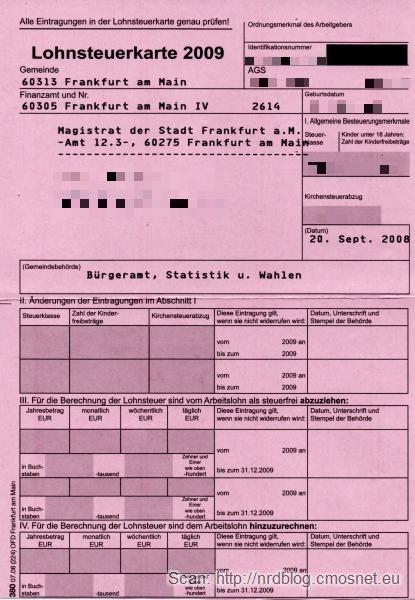 Karta podatkowa, Niemcy, 2009