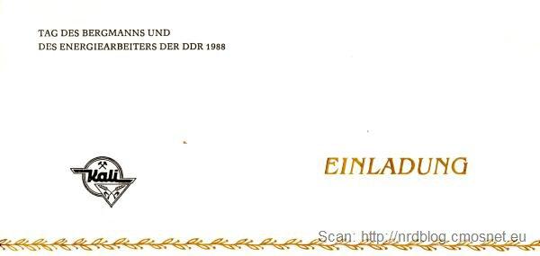 Zaproszenie na Dzień Górnika w Bad Salzungen (NRD) w roku 1988