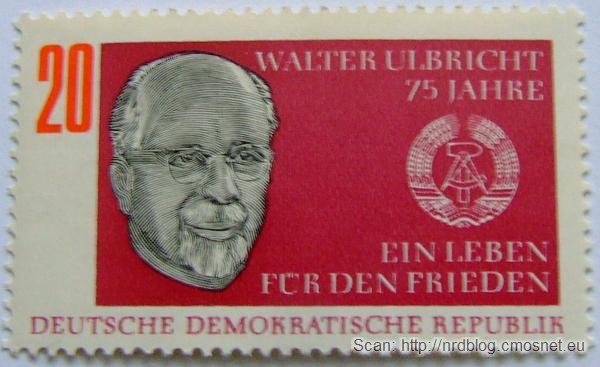 Znaczek pocztowy z NRD z Walterem Ulbrichtem, ok. 1968