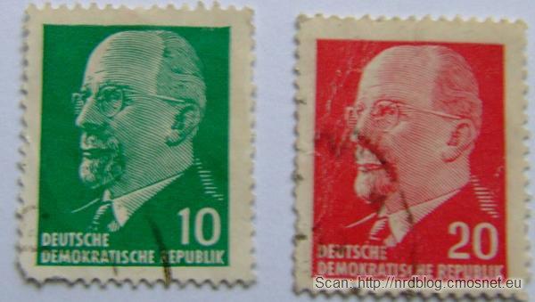 Znaczki pocztowe z NRD z Walterem Ulbrichtem, ok. 1965