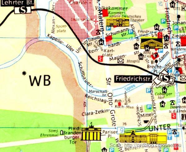 Stacja Berlin Friedrichstrasse na NRD-owskim planie Berlina, ok. 1970