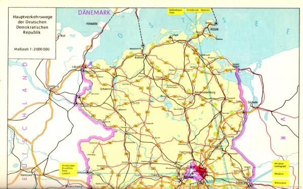 Autostrady w NRD, stan na początek lat 70-tych XX wieku, skan z atlasu samochodowego