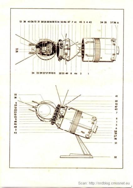 VEB Plasticart - statek kosmiczny Wostok - instrukcja