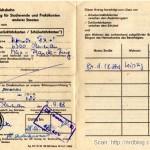 Zniżka na pociąg dla studentow zagranicznych w NRD, ok. 1987