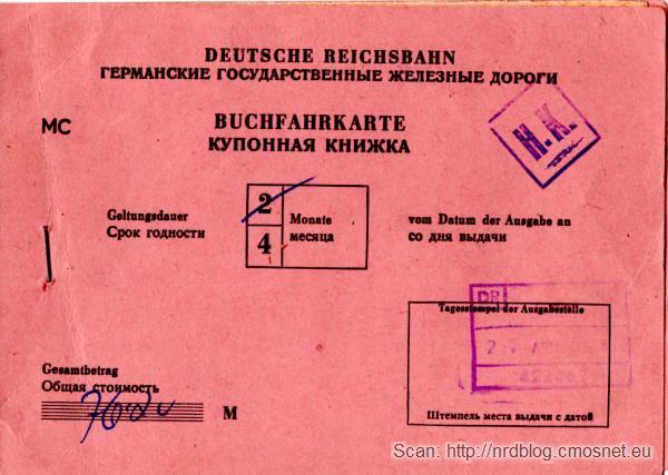 Międzynarodowy bilet na pociąg, NRD, 1987