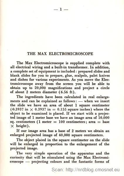 Elektromikroskop, Włochy, ok. 1973 - instrukcja