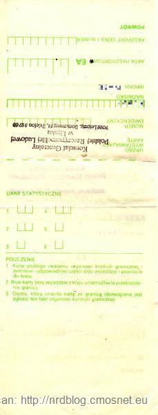 Karta Przekroczenia Granicy na paszport służbowy, PRL, 1988