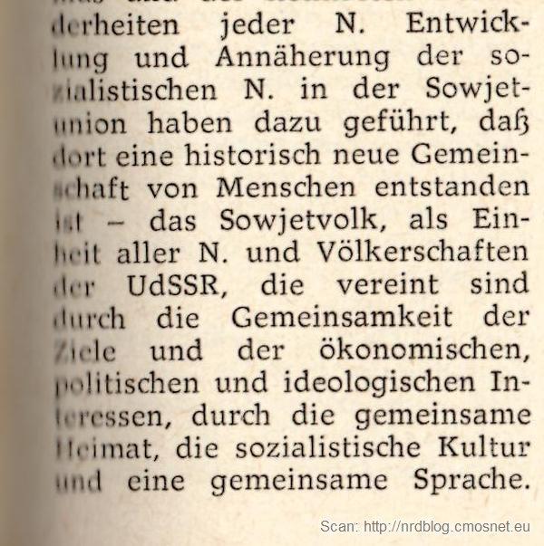 """Kleines Politisches Wörterbuch - hasło """"Nation"""", jeden naród radziecki"""