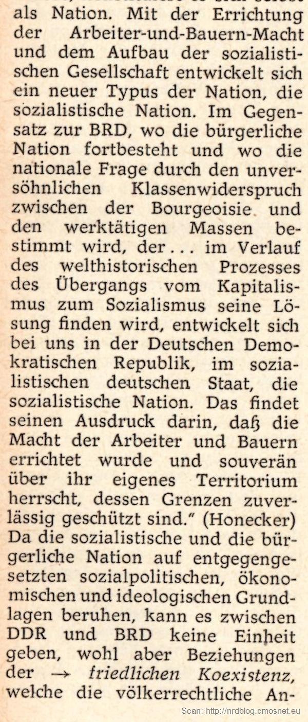 """Kleines Politisches Wörterbuch - hasło """"nationale Frage"""", dwa narody niemieckie"""