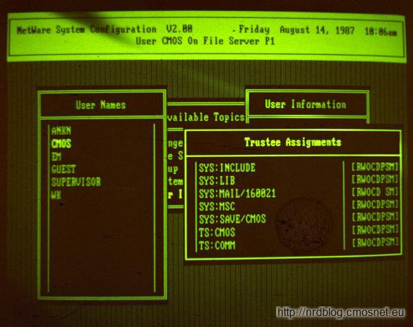 Novell Netware V2.0, rok 1987