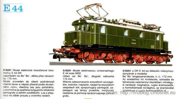 Katalog kolejek PIKO, skala H0 - lokomotywa E44, NRD, ok. 1975