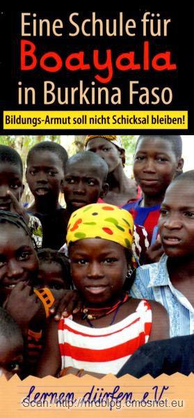 Ulotka reklamująca projekt pomocy dla Afryki - Szkoła dla Burkina Faso