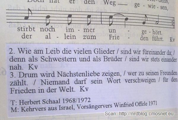 """Niemiecka pieśń kościelna w poprawionej wersji, skan z książeczki """"Gotteslob"""" zaktualizowanej po 1996"""