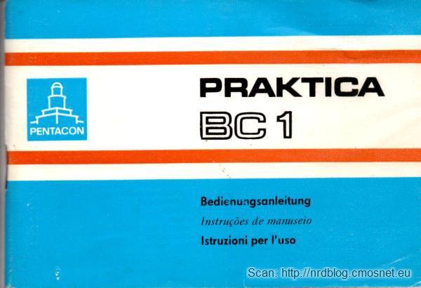 Instrukcja obsługi aparatu Praktica BC1, NRD, 1987