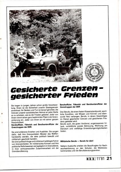 Ogłoszenie werbunkowe, NRD, 1981
