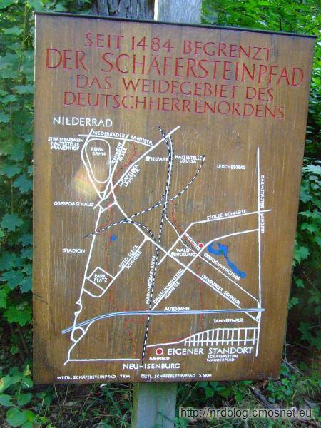Mapa z naniesioną granicą między terytorium Zakonu Krzyżackiego a miasta Frankfurt (Schäfersteinpfad)