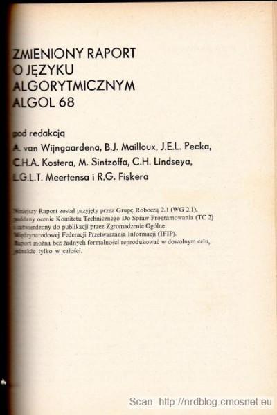 Raport języka Algol 68