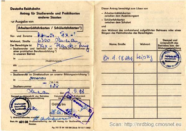 Dokument uprawniający do zniżki na pociąg dla studentów zagranicznych, NRD, 1988