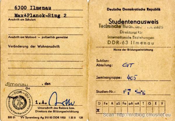 Legitymacja studencka TH Ilmenau, NRD, 1984