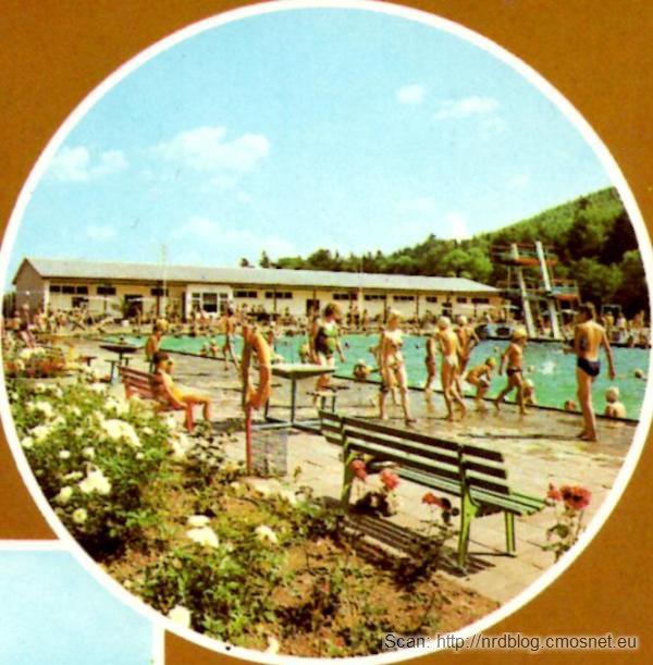 Pocztówka z Ilmenau - basen, NRD, ok. 1975