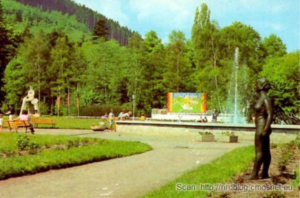 Pocztówka z Ilmenau - park, NRD, ok. 1975