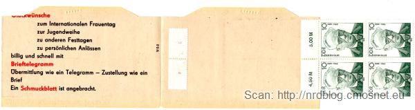 Książeczka z NRD-owskimi znaczkami pocztowymi, ok. 1975