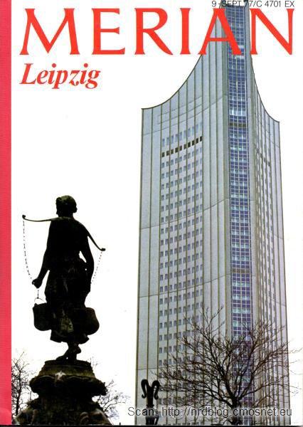 Budynek uniwersytetu im. Karola Marksa w Lipsku, NRD, skan z czasopisma Merian nr 9/77