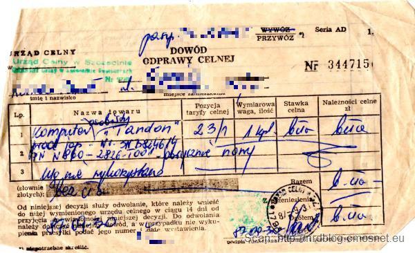 Odprawa celna komputera, PRL, 1987