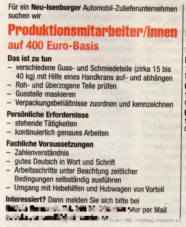 Ogloszenie o pracy na 400-Euro-Job