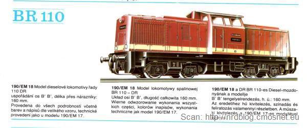 Katalog kolejek PIKO, skala H0 - lokomotywa spalinowa BR110, NRD, ok. 1975