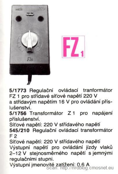 Katalog kolejek PIKO, skala H0 - transformator FZ1, NRD, ok. 1975