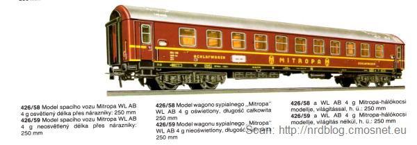 Katalog kolejek PIKO, skala H0 - wagon sypialny, NRD, ok. 1975
