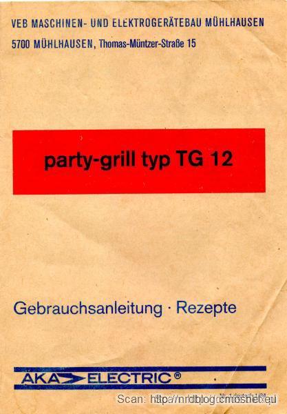 Instrukcja od Party Grilla, NRD, ok. 1985