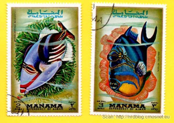 Znaczki pocztowe Manama kupione w NRD, ok. 1975