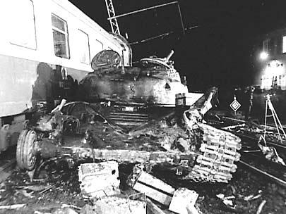 Zderzenie czołgu T-72 z pociągiem na poligonie Forst-Zinna