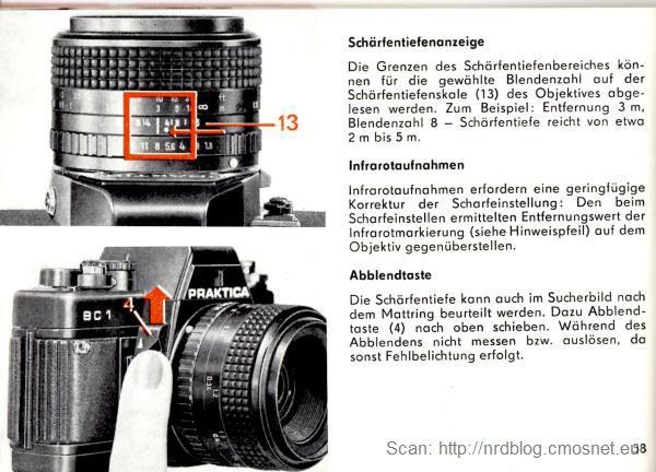 Infrarotpunkt, skan z instrukcji obsługi aparatu Praktica BC1, NRD, 1987