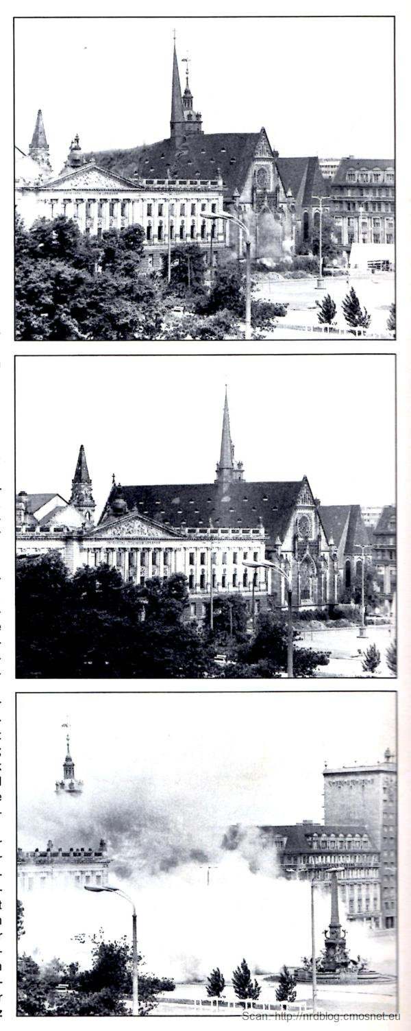 Wyburzanie kościoła uniwersyteckiego w Lipsku, NRD, skan z czasopisma Merian 9/77