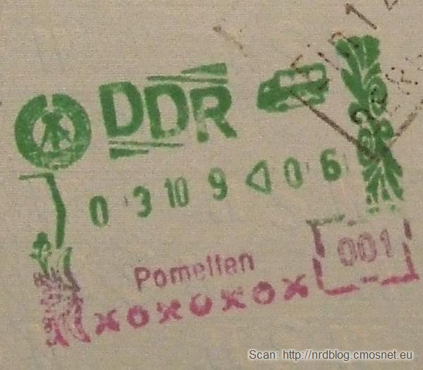 Stempel NRD-owskiej kontroli granicznej - przejście Pomellen