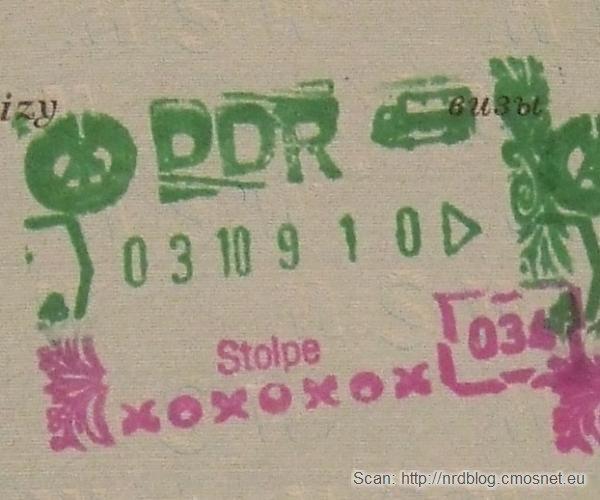 Stempel NRD-owskiej kontroli granicznej - przejście Stolpe