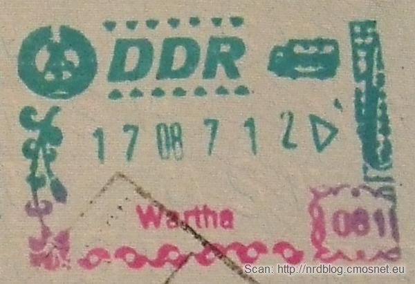 Stempel NRD-owskiej kontroli granicznej - przejście Wartha